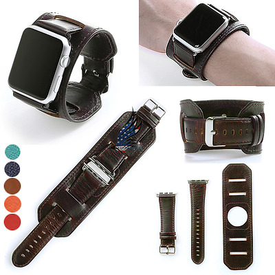3in1 Coffee Herme Cuff Leather Watch Band Wrist Strap For Apple watch 38 42mm