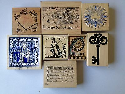 Job lot of 8 Medieval Wooden Rubber Stamps for cardmaking/papercrafts