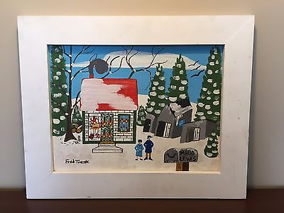 Fred Trask Folk Artist Painting 1977 Not Too Many Riding By Today Maud