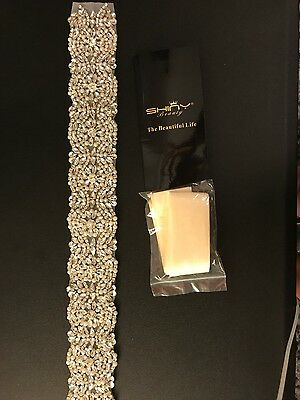 Wedding Sash With Flower/Diamond/Pearl/ Belt Fits Any From Size Shiny Beauty