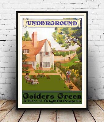 Golders Green : Vintage Travel advert, Wall art , poster, Reproduction.