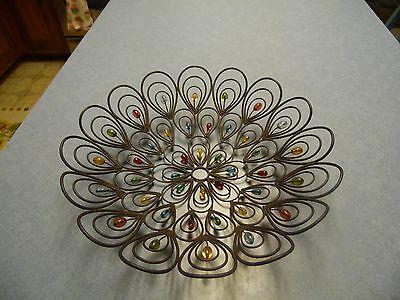 14.5 inch round wire fruit basket with multi color beads through it