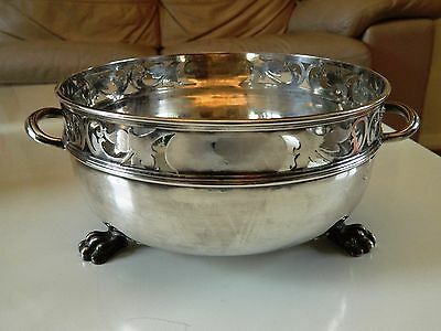 Beautiful AW&JH Silver Plate Bowl on lion paw feet