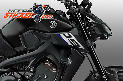 2017 Yamaha [Mt-09] Air Intake Stickers Left + Right Silver 09 + Blue Line (#55)