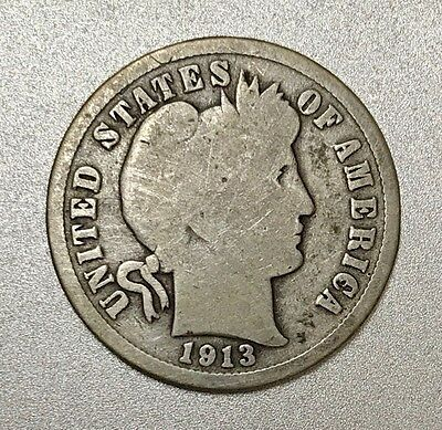1913 S Barber Dime ~ KEY DATE * SAN FRANCISCO MINT * 90% Silver Coin