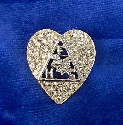 FHC Order of the Moose / Elk Lodge Fraternity Rhinestone Heart Pin / Brooch