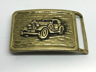 Mens Belt Buckle Brass Gold Tone Vintage Antique Look Car Vehicle Driving