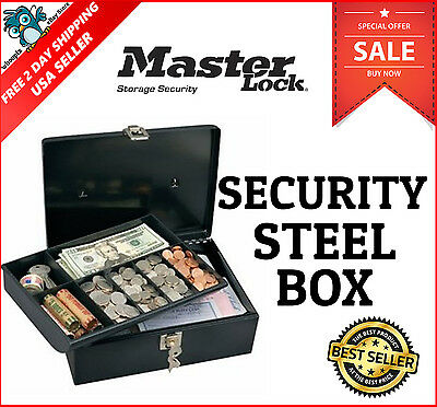 Master Lock Key Security Safe Box Metal Cash Money Coins Jewelry Bill Check Tray