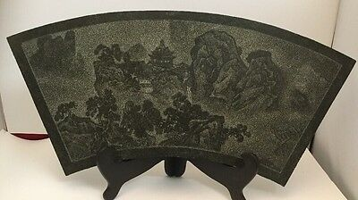 Antique Chinese Slate Panel - Pointillist Style, Shallow Carved Landscape. RARE