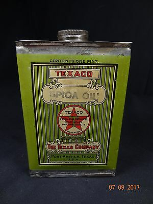 Nice Texaco Spica Oil Can 1pt 1920's Half Full. Rare Collectible Vintage Oil Can