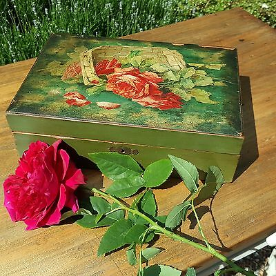 Rose English School of Art hand painted wooden box, Antique trinket, work box
