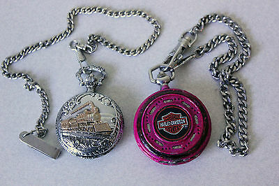 Lot of 2 Vintage Pocket Watches 1x Harley Davidson Franklin Mint & 1x Train