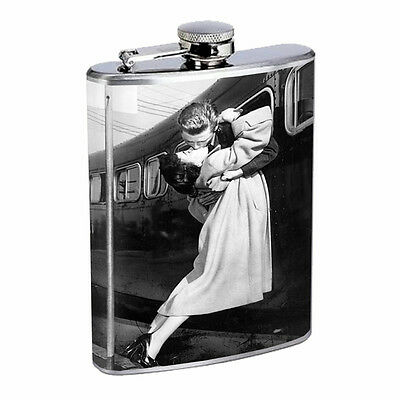 Vintage Couples Kiss D7 Flask 8oz Stainless Steel Hip Drinking Whiskey Retro