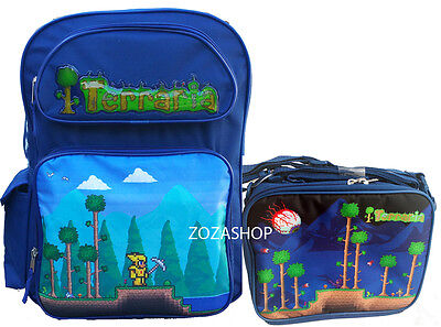 "TERRARIA 16"" School Large Blue Backpack & Lunch Bag 2 pc set"