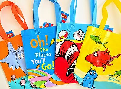 4 Dr. Seuss Characters Including Cat In The Hat Shopper Totes-Free Shipping-New