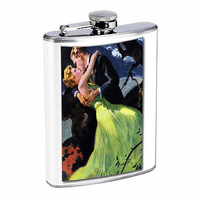 Vintage Couples Kiss D9 Flask 8oz Stainless Steel Hip Drinking Whiskey Retro