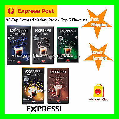 80 Capsules Expressi Coffee Pods Vareity Pack (5 boxes) Top 5 Flavours  ALDI eBC