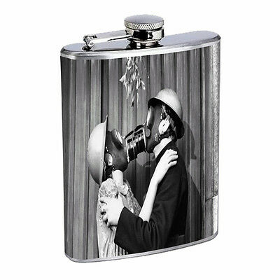 Vintage Couples Kiss D11 Flask 8oz Stainless Steel Hip Drinking Whiskey Retro