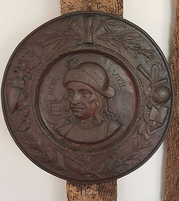 Antique, vintage dish ,Tin plate, Charger of a Soldier with a Decorative Border