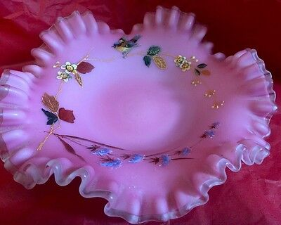 Victorian Hand Painted Bride Basket Pink Satin Glass Dish Or Insert Ruffled 12""