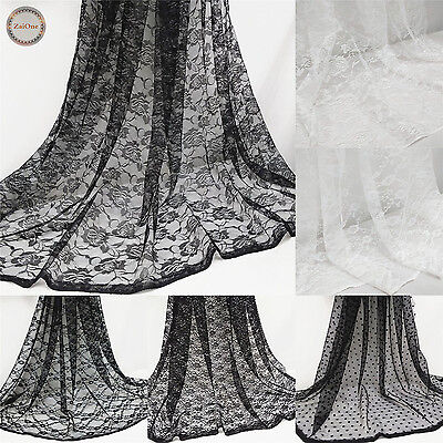 Hollow Floral Lace Fabric Tulle Mesh Wedding Bridal Veil Dress Decor Craft Yard