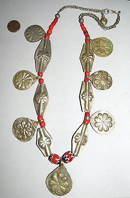 """Old Turkoman Silver Beads,Repousse Dangles w Glass Necklace 24"""""""