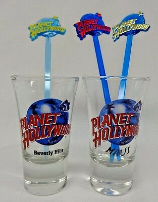 Planet Hollywood - Shot Glasses (2) & Swizzle Sticks (3)