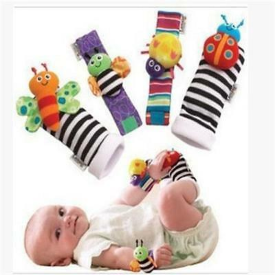 4Pcs Infant Animal Rattle Toys Baby Hand Bells Wrist Foot Socks Ring Toys New C