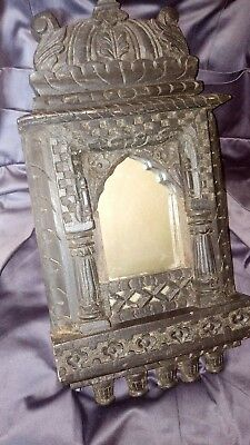Heavy Victorian Ornately Carved Black Wood Gothic Style Mirror.