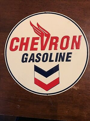 Vintage CHEVRON GASOLINE Embossed Metal Sign 10 3/4""