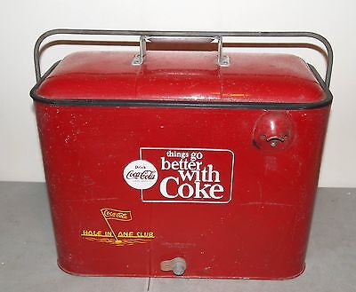 """Vtg 1950s-60s Red Metal COCA COLA """"Things Go Better With Coke"""" COOLER"""