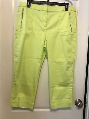 NWT Chico's Sz 16 Zenergy Soft Lime Green Zip Pockets Crop Pants!!