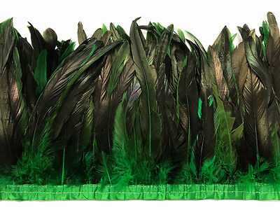 """1 Yard - 10-12"""" Kelly Green Dyed Over Natural Coque Tails Long Feather Trim Bulk"""