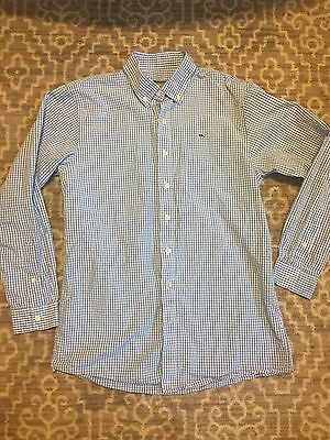 Boys Vineyard Vines Long Sleeve Button Up Shirt Size Large L 16-18 Blue Whale