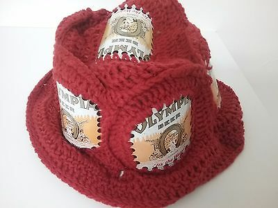 Crocheted  Olympia Beer Can Hat