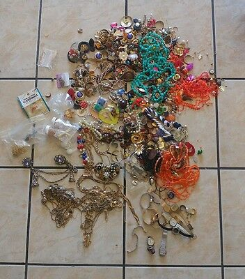 Vintage Jewelry Craft lot about 10lbs watches, earrings, necklaces, brooches...