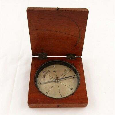 Antique French Wooden Box Compass