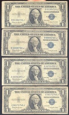 (Lot of 8) $1 blue seal silver certificates, series 1935H. Off quality.