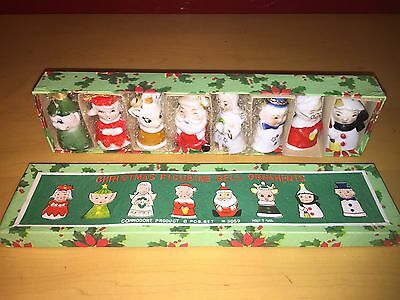 VINTAGE SET of 8 COMMODORE CHRISTMAS FIGURINE BELL ORNAMENTS ORIGINAL BOX 3059