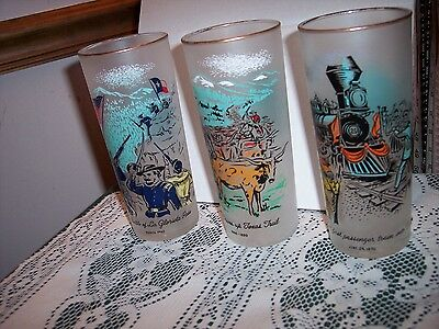 "3 VINTAGE 50'sLIBBY CIVIL WAR THEMED 6.5"" TALL Frosted Iced Tea Glasses Tumblers"