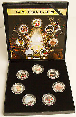 Set of 7: Italian 2013 50 Lire Papal Conclave Coins Pope Francis Sistine Chapel