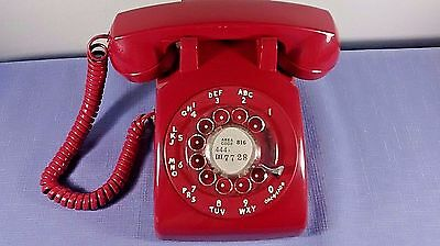 Vintage 1976 Bell System By Western Electric Red Rotary Dial Telephone