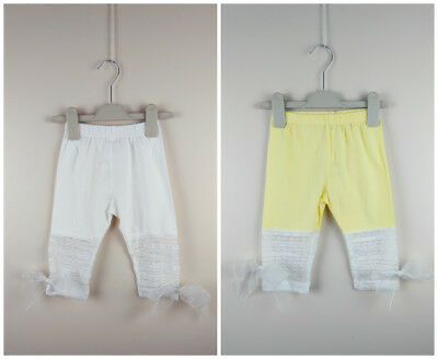 Girl Cropped Leggings Capri Pants Ribbon Lace  2-7 Years 【UK Seller】