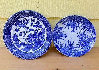 """Mixed  Antique Japanese Transferware China - Blue  5"""" and 5 3/4ths"""""""
