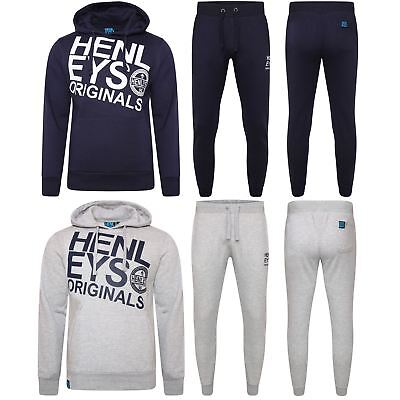 Henleys Mens Fleece Jogging Suit Tracksuit Rrp £79.99 - 2 Colours - Sizes S-Xl