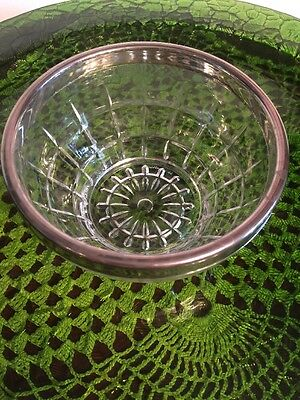 """Vintage Cut Glass 5"""" Bowl with Silver Edge Rim Lining , Italy 11"""