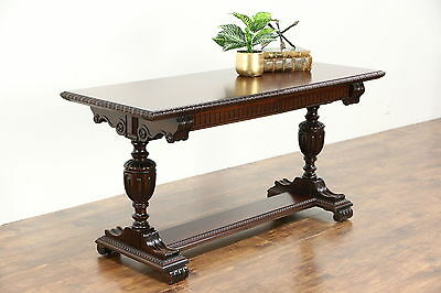 Carved Antique Mahogany Sofa, Hall Console or Library Table, Signed Imperial