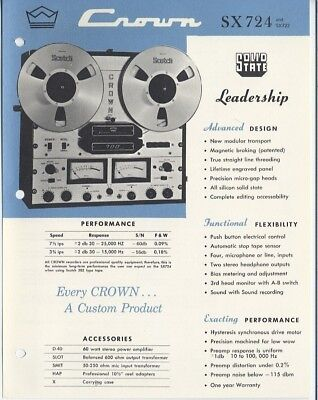 Crown sales brochure sx 724 sx722 solid state reel to for Savio 724 ex manuale