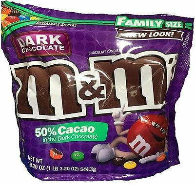 New Sealed Dark Chocolate 50% Cacao M&m's Candies Family Size 19.20 Oz Bag Mars