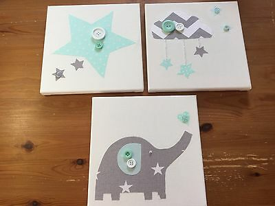 3 HANDMADE NURSERY MINT GREEN GREY ELEPHANT STARS CLOUD CANVASES baby boy girl